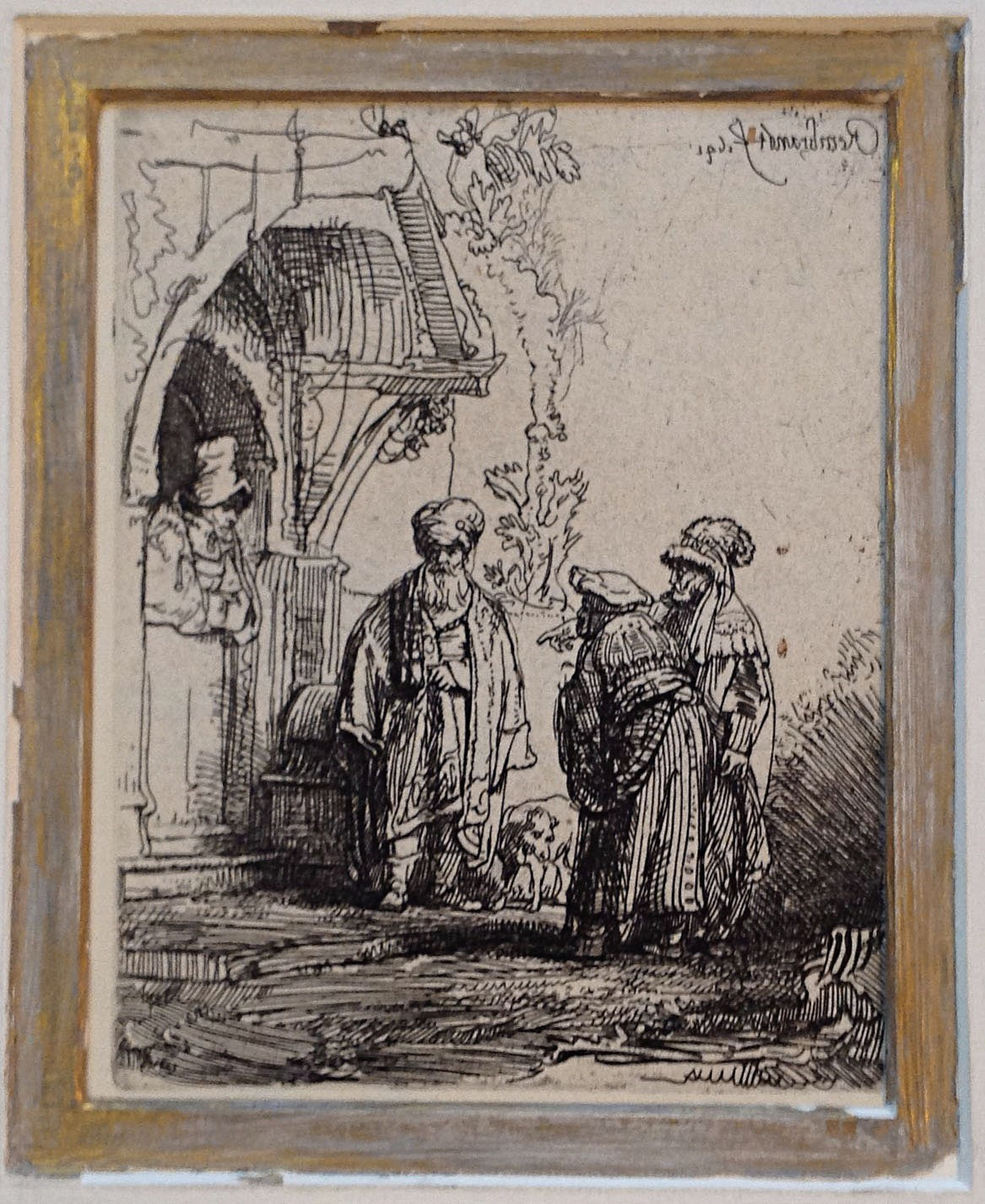 Rembrandt van Rijn, Three Oriental Figures; 'Jacob and Laban', reverse etching with drypoint. Photo: Hessink's