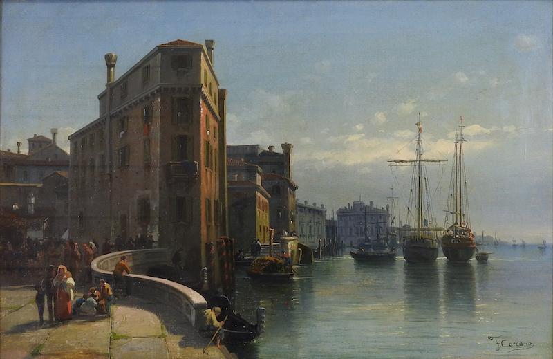 Filippo Carcano (1840-1914), paysage vénitien avec des voiliers, estimation entre 1.500 et 2.000 euros