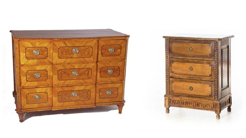 Links: Louis Seize-Kommode, Nussbaum, Frankreich 1780 Ehrl Rechts: Louis Seize-Kommode, Obstholz, Süddeutschland Ende 18. Jh. Eppli