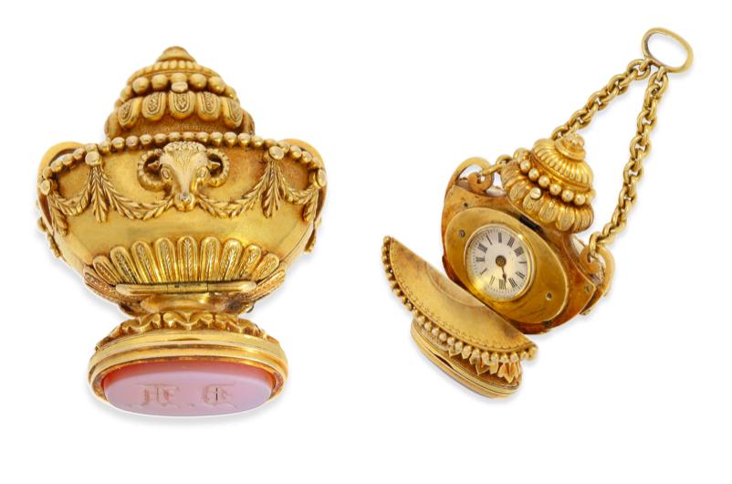 Montre pendentif en forme de vase, probablement Genève vers 1800, image © Cortrie
