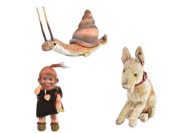 Oben: STEIFF Schnecke aus Samt und Gummi, 1960er Jahre Links: STEIFF Neander mit Originalkleidung, 1960er Jahre Rechts: STEIFF Schäferhund aus der Vorkriegszeit