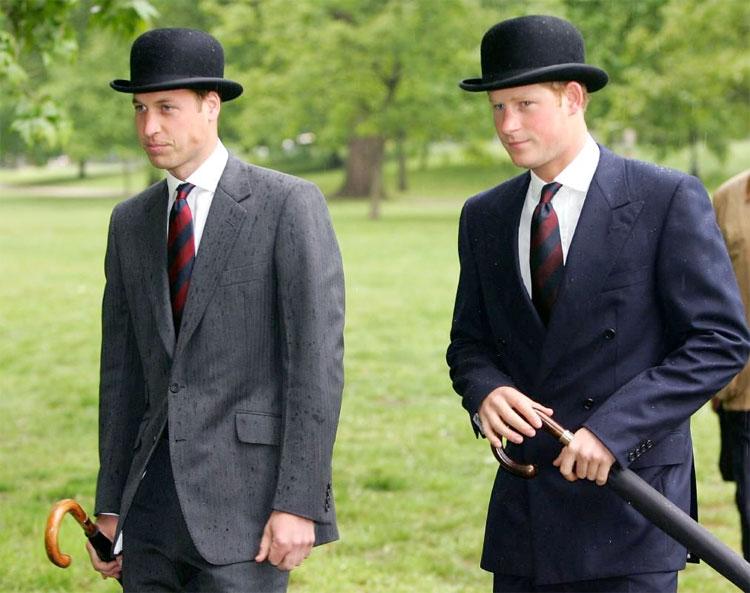 Prince William and Prince Harry with Swaine Adenery Brigg umbrellas