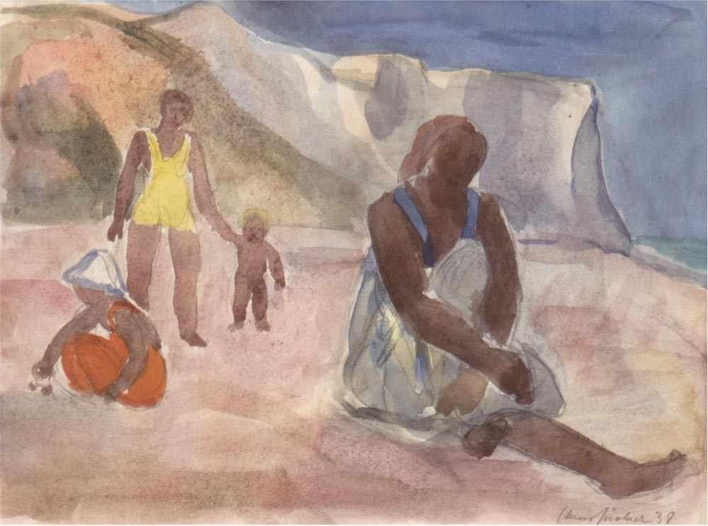 HANS JÜCHSER (1894 Chemnitz-1977 Dresden) - Personen am Strand, Aquarell, signiert und datiert, 1938