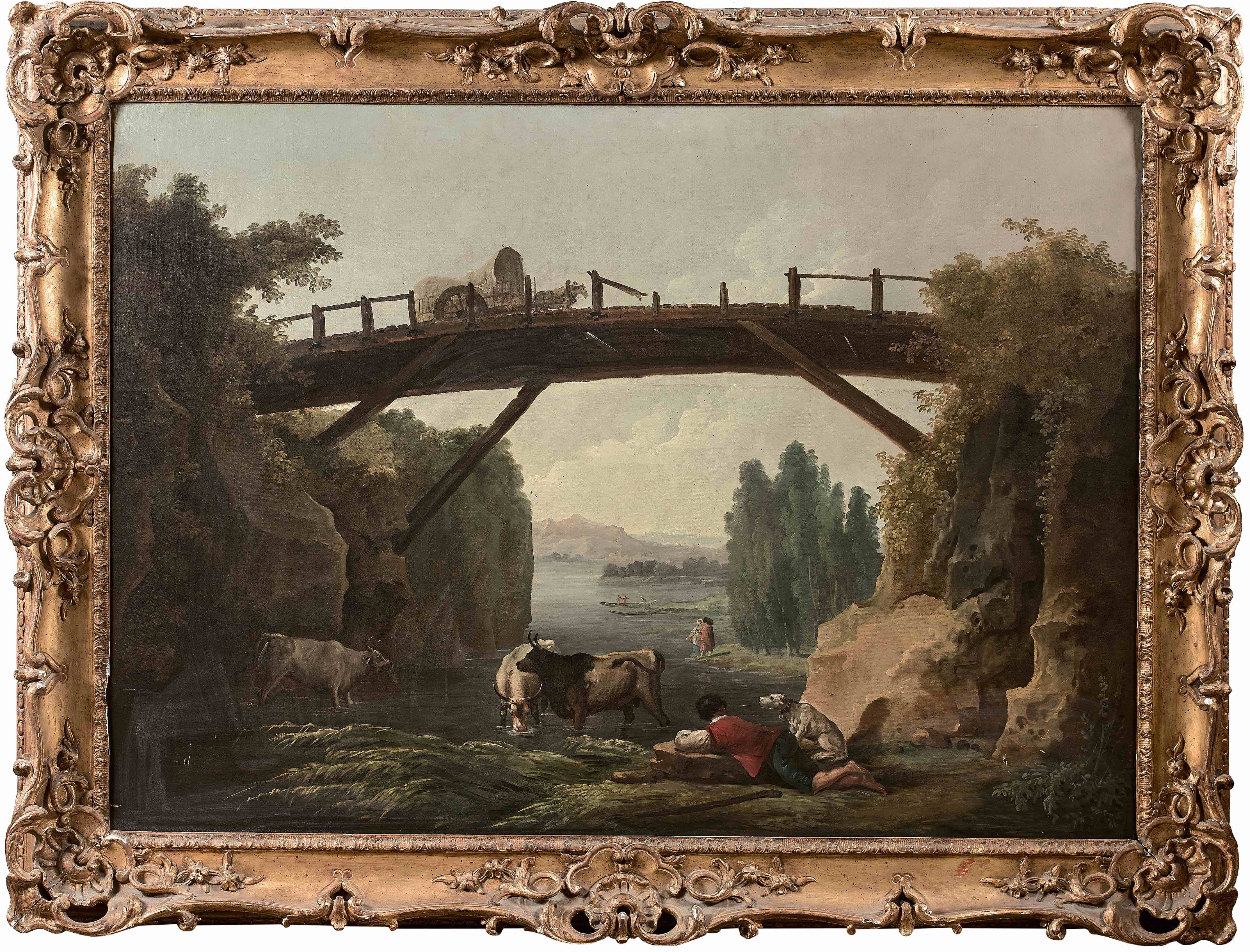 Hubert Robert, Le pont de bois, toile, 96 x 137 cm