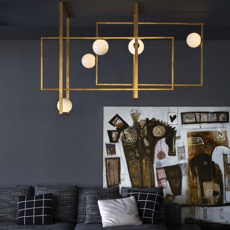 Lámpara de cristal Mondrian de vidrio de Murano