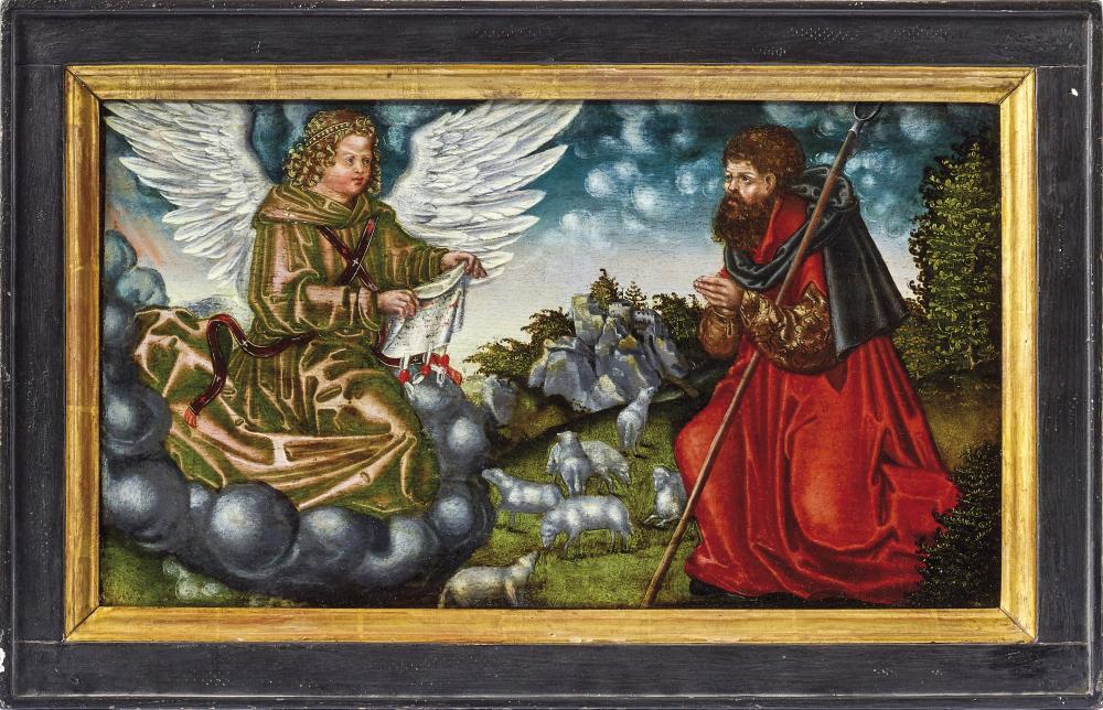 LUCAS CRANACH D. Ä. (1472 Kronach - 1553 Weimar) Werkstatt - Verkündigung an Joachim, Öl/Holz, um 1508-10
