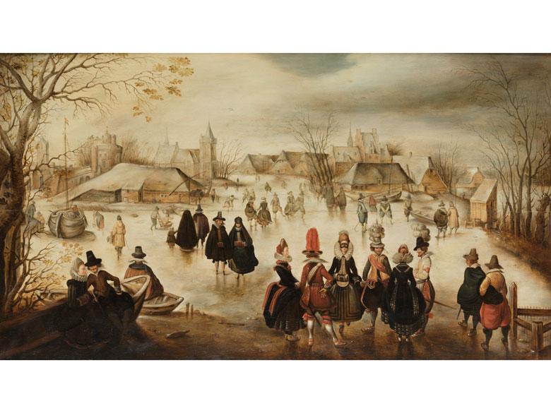 Adam Breen (um 1590 Amsterdam – 1645 Oslo) zug., Höfische Gesellschaft beim Eisvergnügen, Öl/Holz   Foto: Hampel