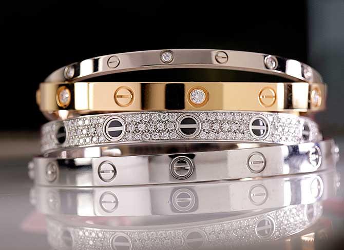 A stack of Cartier love bracelets. Images: JCK Magazine