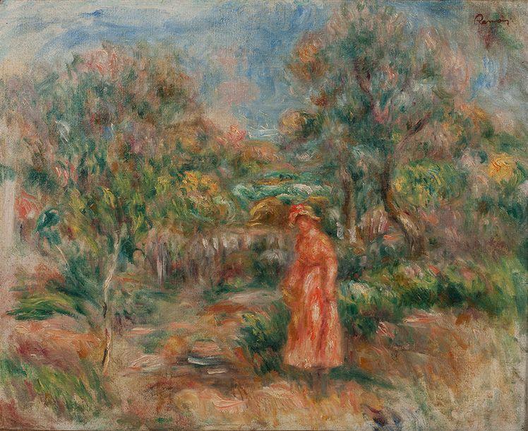 Pierre-Aguste Renoir, Femme en rose dans un paysage à Cagnes, image via Aguttes