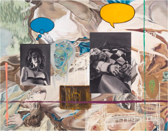 David Salle (b.1952) Backdrop, 1990 oil and acrylic on canvas 96 x 122 in. (243.8 x 309.9 cm.) © David Salle Courtesy of Skarstedt