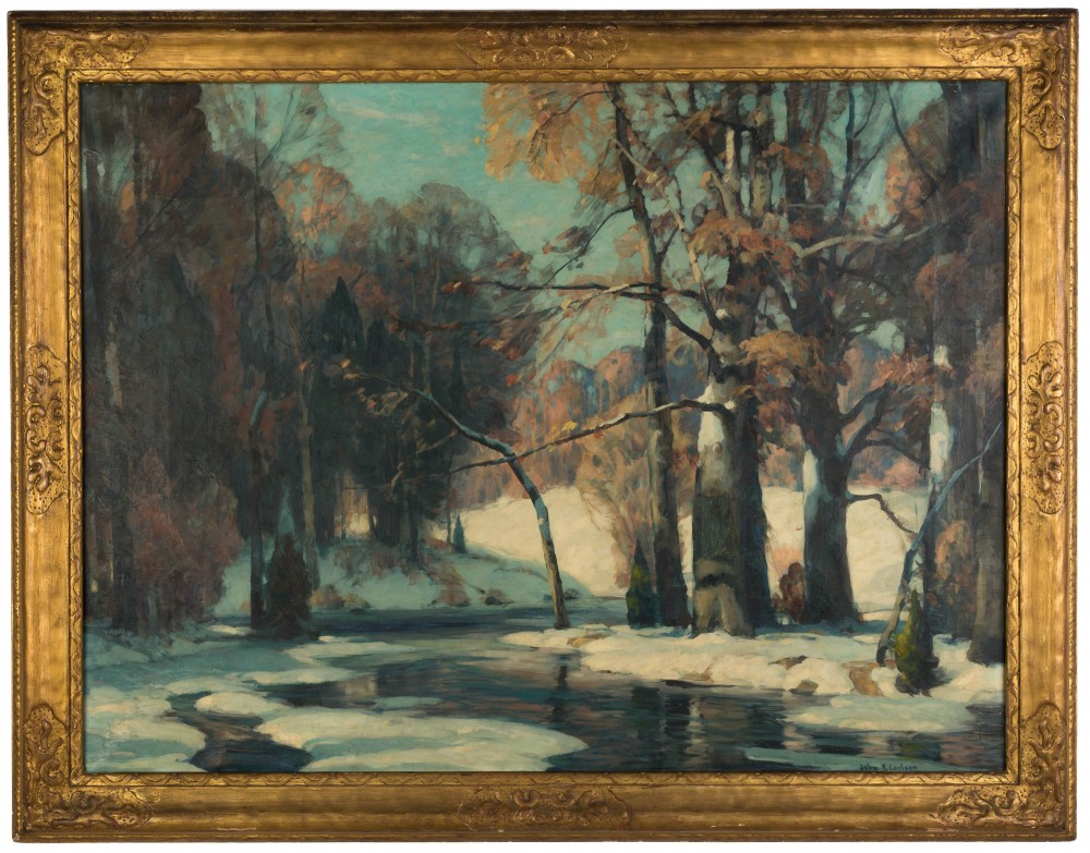Oil on canvas winter landscape by John Fabian Carlson (Swedish/American, 1875-1947), signed, 30 inches by 40 inches in the original frame ($22,400).