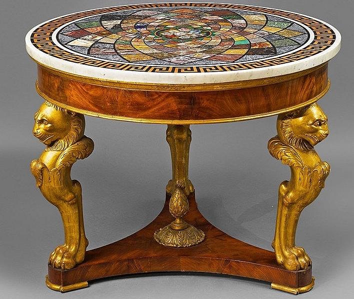 Table italienne incrustée, milieu du XIXe siècle