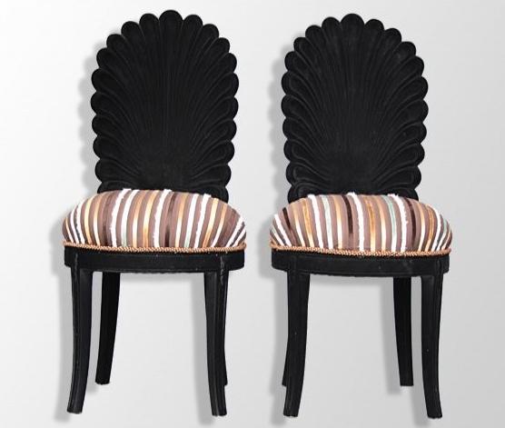 Paire de chaises de style floquées noires Marseille Antiquités