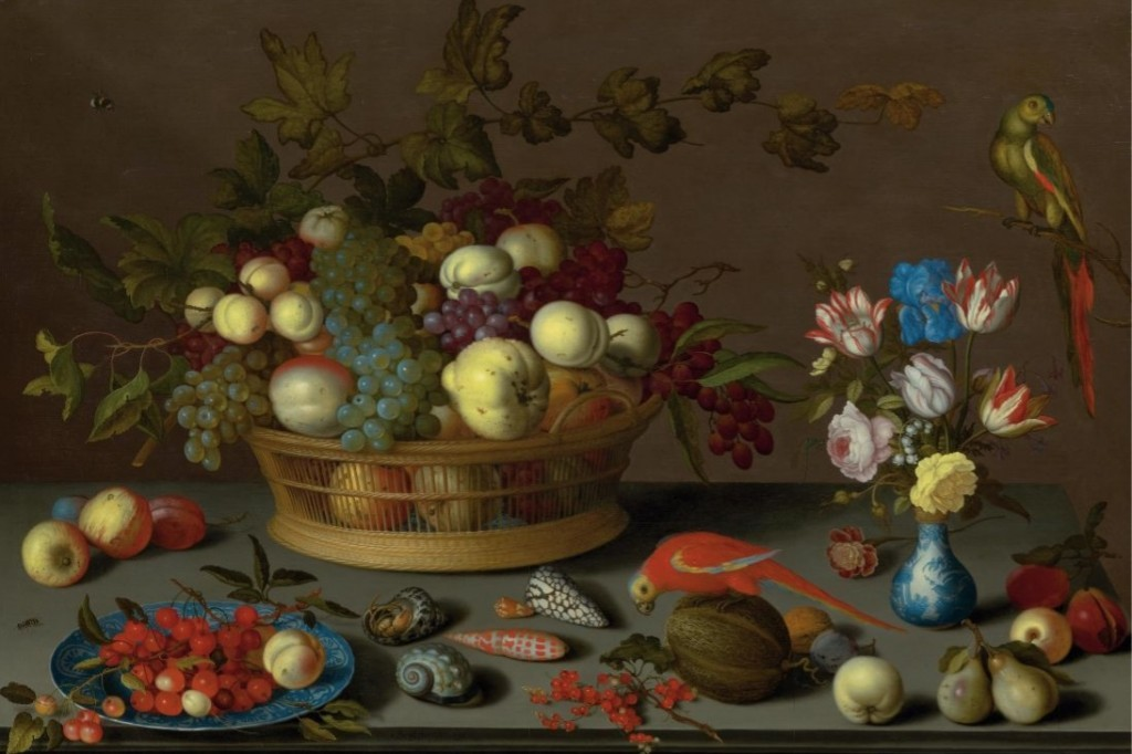 BALTHASAR VAN DER AST (Middelburg c. 1593 - 1657 Delft) - Large still life with fruit on a Delft ceramic plate, mussels, insects, flowers in a Wanli vase and two parrots, oil / wood, 70 x 107 cm, signed, circa 1620