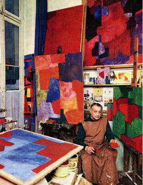 Serge Poliakoff dans son atelier Image via espritsnomades.com