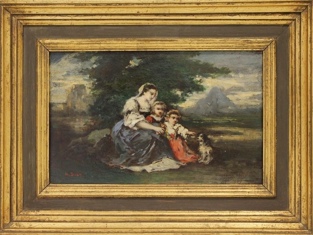 NARCISSE VIRGILE DIAZ (1807-1876) - Mutter mit Kindern, Ölgemälde, 13 x 25 cm Ausruf: 1.500 EUR