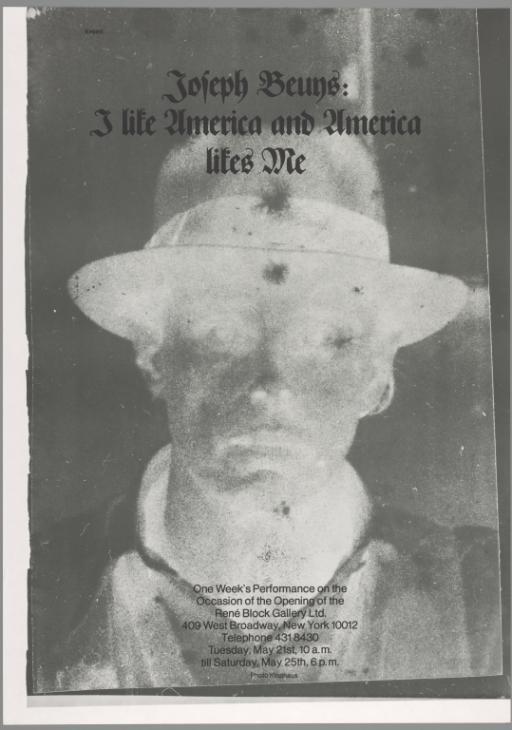 Joseph Beuys: I like America and America likes Me, René Block Gallery, New York, 1974 Image: Tate