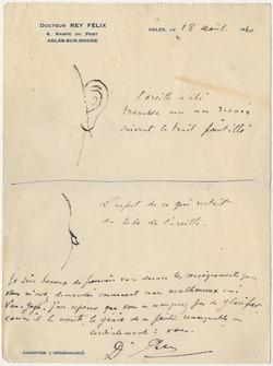 Brev från Félix Rey till Irving Stone med en teckning av Vincent van Goghs sargade öra, daterat 18 augusti 1930. The Bancroft Library, University of California, Berkeley.
