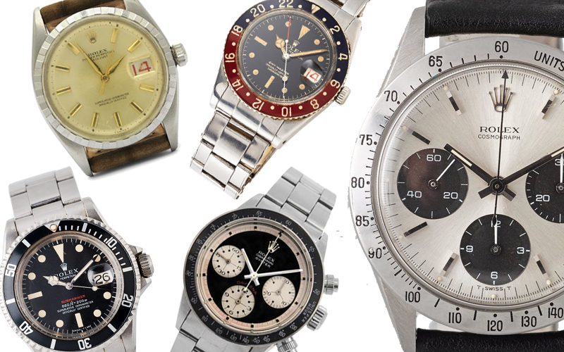 """1. Rolex Oyster Perpetual, Datejust, Chronometer, Ref nr. 6605, 16 800, Kaplans. 2. Rolex, GMT-Master, """"Pussy Galore"""", 760 000, Stockholms Auktionsverk 3. Rolex Oyster Perpetual Date, Submariner (660ft=200m, SWISS-T, Mark IV), 441 000 kronor, Bukowskis 4. Cosmograph Oyster, Daytona, s.k. """"Paul Newman"""", 4 850 000 kronor, Kaplans 5. Rolex Oyster, Cosmograph (T SWISS T), """"Daytona"""", kronograf, armbandsur, 37 mm, 340 000 kronor, Bukowskis."""