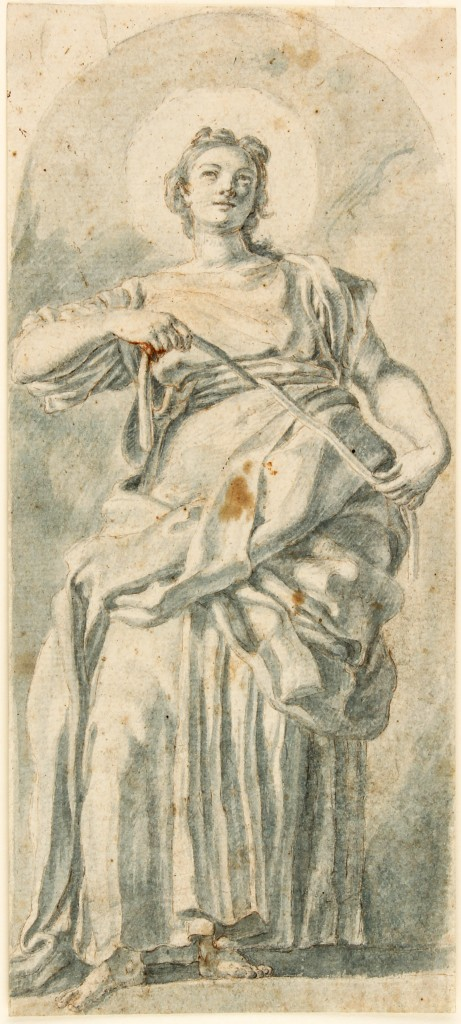 FRANCESCO SOLIMENA (1657 Canale di Serino - 1747 Barra) attr. - Allegorie der Keuschheit, blauer Stift und Wasserfarbe, 238x101 cm Preis: 5.000 EUR