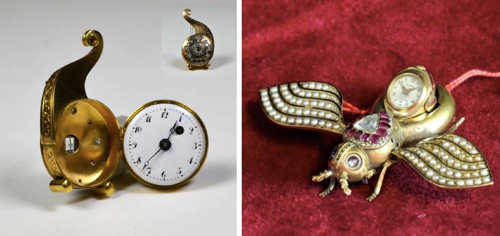 Links: Louis XVI-Uhr in Form einer Harfe aus Gold mit Diamanten Startpreis: 2.750 EUR Rechts: Golduhr in der Form eines Skarabäus mit Rubinen, Diamanten und Perlen Startpreis: 4.000 EUR