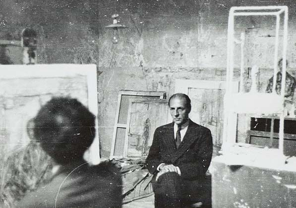 Pierre Matisse posant pour Alberto Giacometti, 1949. image ©Morgan Library