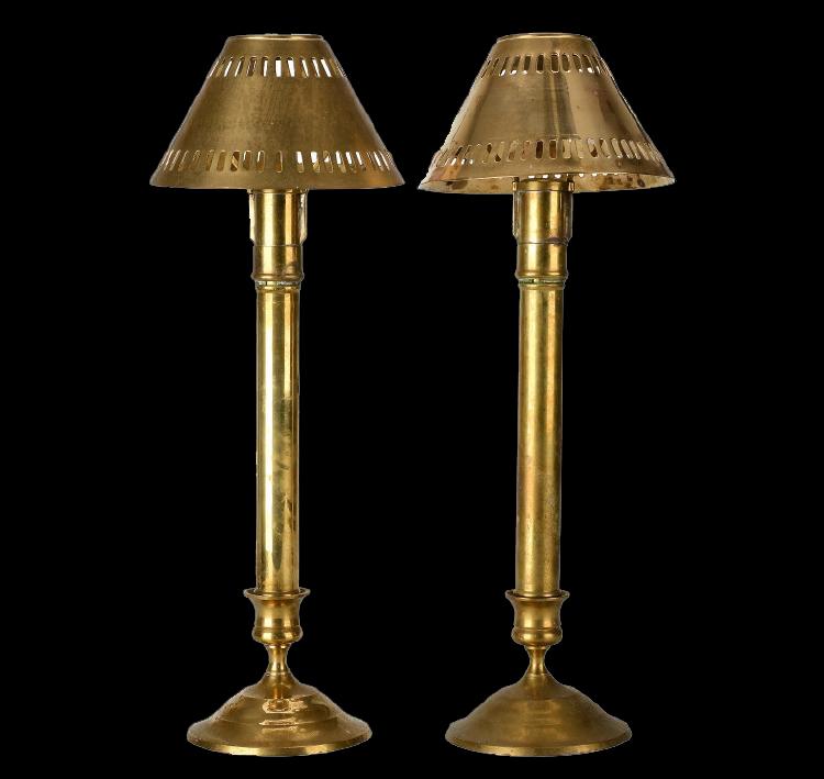 Ljusstakar, 1 par, mässing, 18/1900-tal. Utrop: 400 Sek. Formstad auktioner