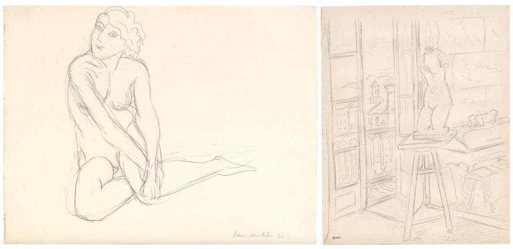 HENRI MATISSE (1869 Cateau-Cambrésis - 1954 Nizza) Links: Nu, Bleistift/Papier, signiert und datiert, 1930 Rechts: Buste dans l'atelier, Bleistift/Papier, signiert mit Initialen, 1928