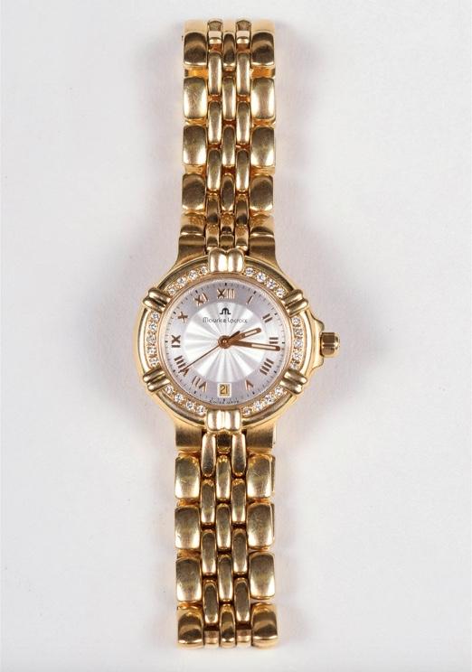 MAURICE LACROIX - Damenarmbanduhr aus Gelbgold mit diamantbesetzter Lünette Startpreis: 3.500 EUR