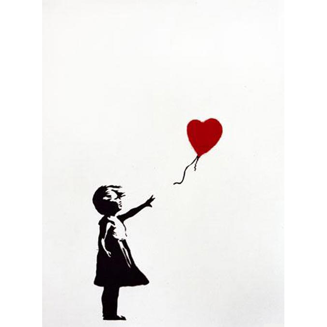 Banksy, Girl with balloon (Signed) 2004 Signed by the artist. Comes with full Pest Control Certificate Of Authenticity (COA) On sale at Graffiti Street