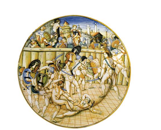 PATANAZZI - Teller mit Gladiatorenkampfszene, D: 44 cm, Urbino Schätzpreis: 30.000-35.000 EUR