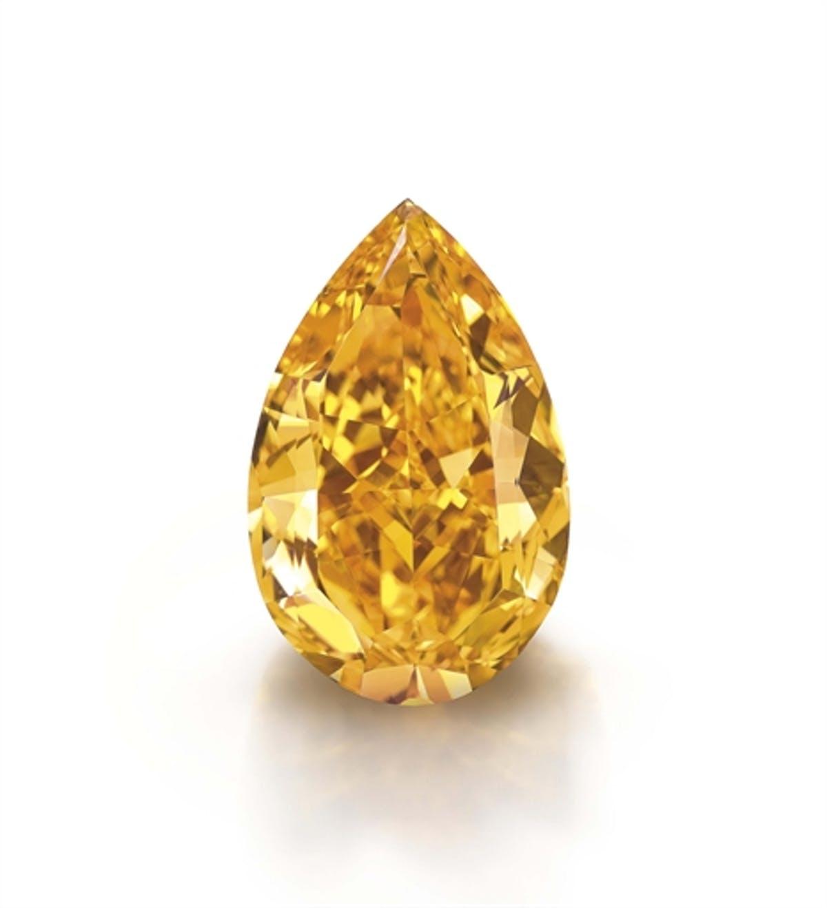 Le plus gros diamant « Fancy Vivid Orange » au monde, image ©Christie's