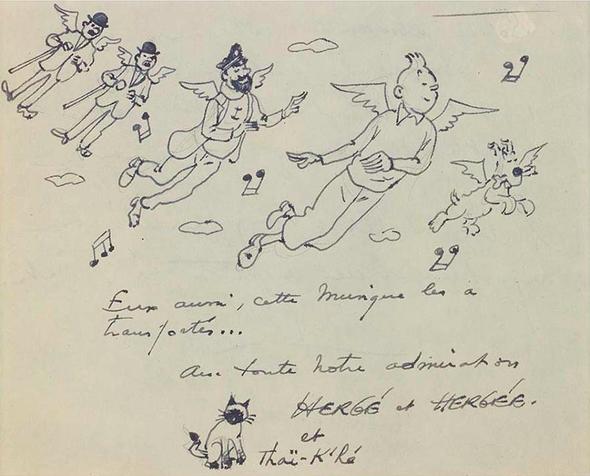 Hergé, Tintin et ses amis « Aux anges » Encre de Chine Piasa