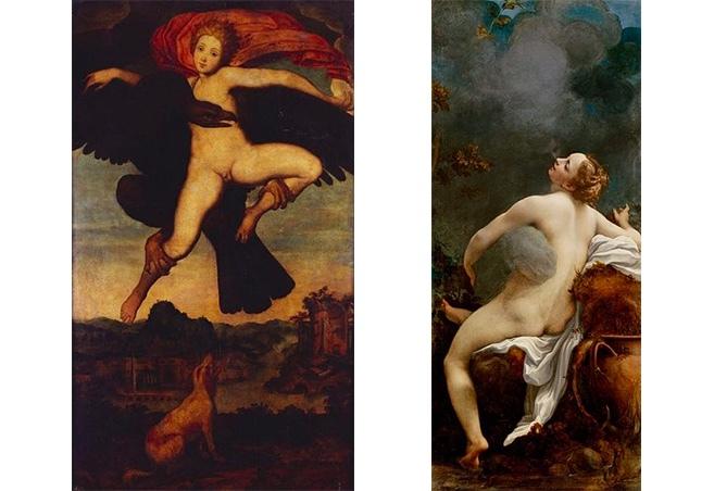 """Vänster: The Rape of Ganymede av Michelangelo, år 1533. Höger: Correggios J""""upiter och Io"""", år 1532-1533. Foton via Wikipedia."""