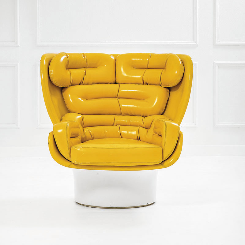 Joe Colombo, swivel armchair mod. Elda, Prod. Comfort, 1965. Estimate 4,500-6,500 euros.