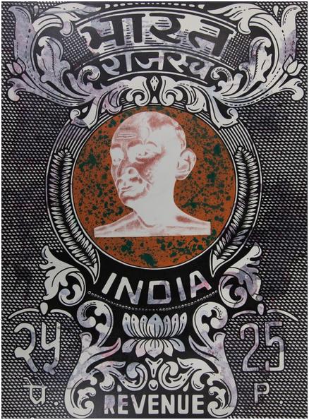 ASHIM PURKAYASTHA (1967 Digboi) - Negative of Ghandi with watermarks, Acryl auf Leinwand, 229 x 167 cm, signiert, 2006 Schätzpreis: 70.000-90.000 EUR Rufpreis: 38.000 EUR