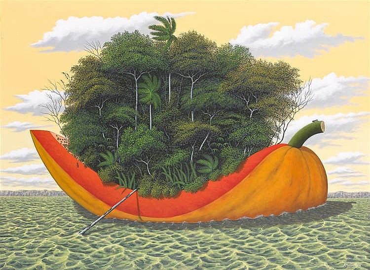 RENÉ MARTÍN (*1952 La Habana) - Dulce viaje, Acryl/Lwd., signiert und datiert, 2005