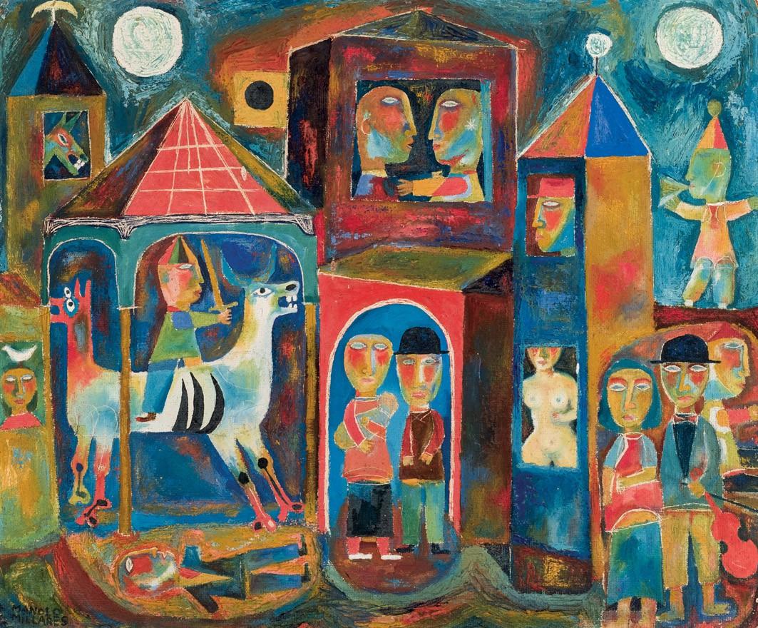 MANOLO MILLARES (1926-1972) - Dos lunas, Öl/HF, signiert, ca. 1953