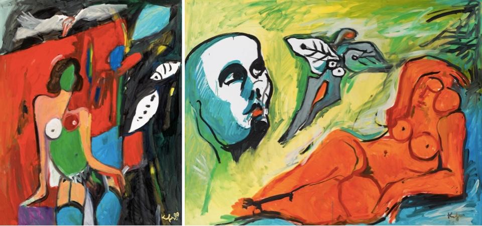 Links: ALFRED KORNBERGER (1933 Wien - 2002 ebenda) - Bunter Akt mit blauen Strümpfen, Öl/Lwd., 141x111 cm, signiert und datiert, 1999 Rufpreis: 7.000 EUR Rechts: ALFRED KORNBERGER (1933 Wien - 2002 ebenda) - Roter Akt liegend, mit Kopf, Öl/Lwd., 132x167 cm, signiert, 1996 Rufpreis: 7.000 EUR