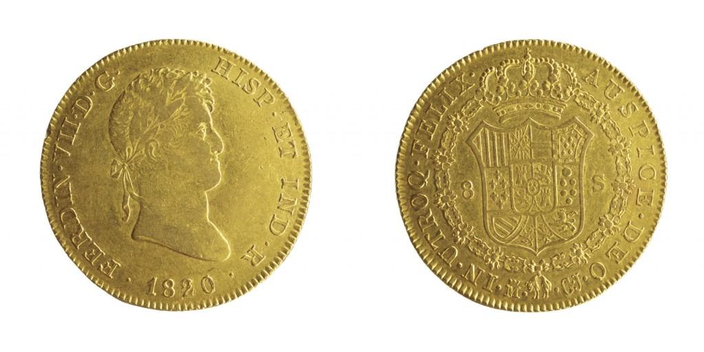 Espagne 1820 Au 8 Escudos, Ferdinand VIII Numisor