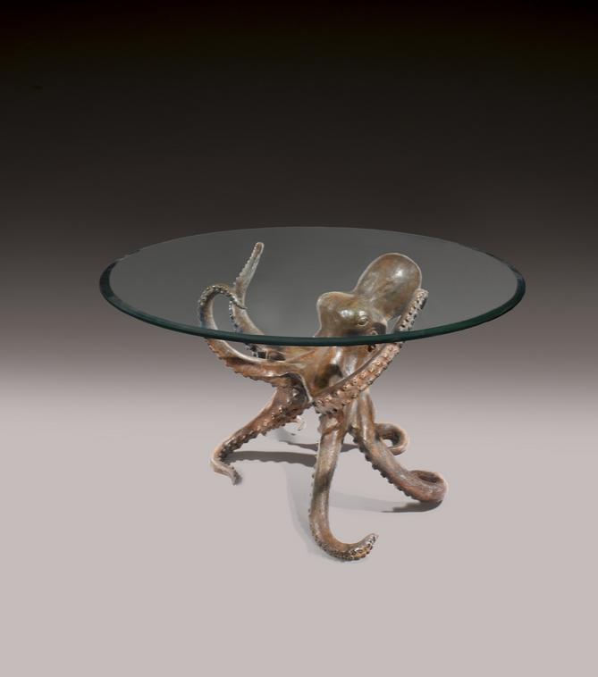 P. Santoni Table « Pieuvre »  Piétement en bronze Signée et datée 1974 Travail Italien