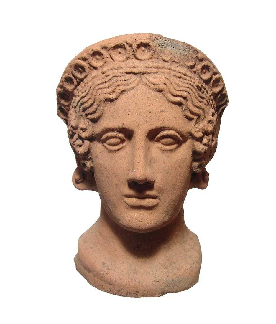 Etruscan terracotta female votive head