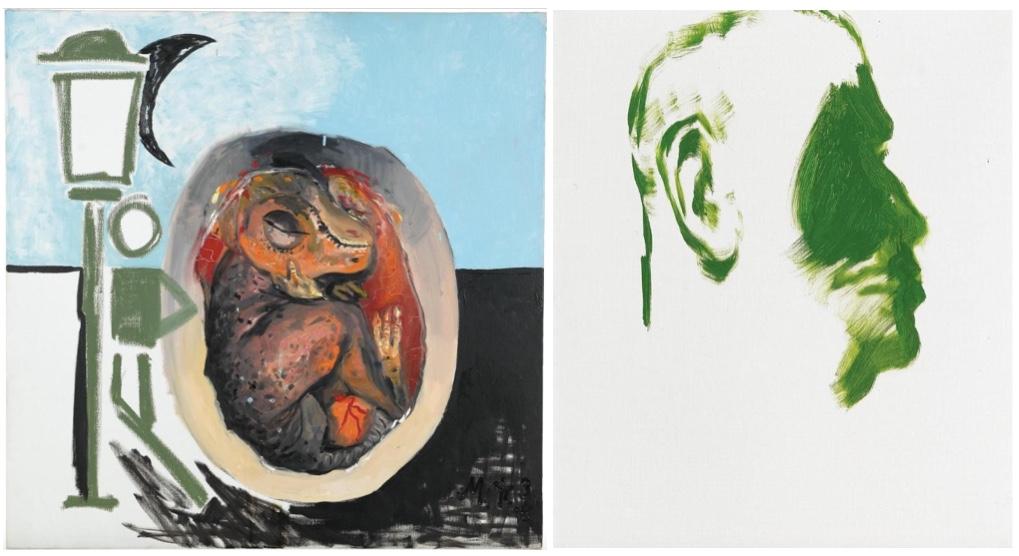 MARTIN KIPPENBERGER (1953 Dortmund - 2007 Wien) Links: Ohne Titel, Öl/Lwd., monogrammiert und datiert, 1996 Rechts: Selbstporträt als Thomas Mann, Öl/Lwd.
