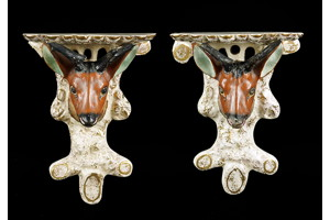 A pair of Staffordshire deer-form wall brackets