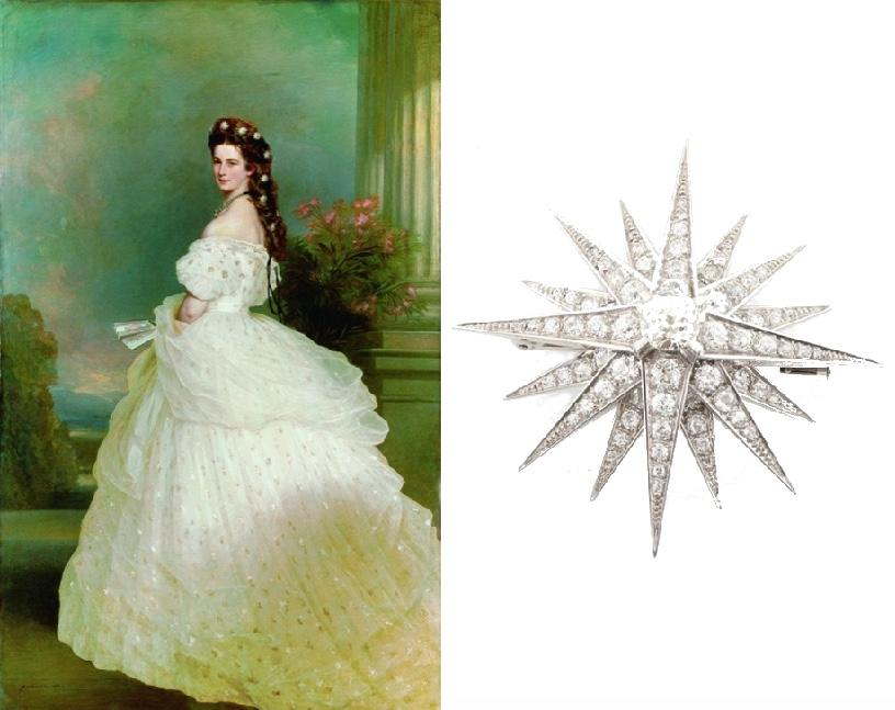 Links: FRANZ XAVER WINTERHALTER - Kaiserin Elisabeth von Österreich, 1865 Rechts: Stern-Brosche aus WG mit Altschliffdiamanten und -brillanten
