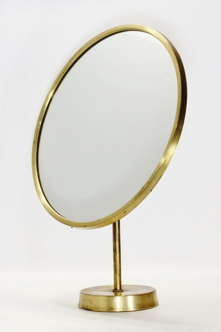 This brass table mirror from Josef Frank and Svenskt Tenn can be purchased for a fixed price of $870 at Nordlings.