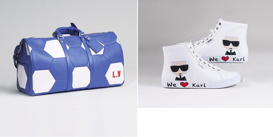 Links: Louis Vuitton, Keepall 50 'Fifa World Cup Russia 2018' Rechts: Karl Lagerfeld, Damen-Sneaker 'We Love Karl', Gr. 39 | Fotos: Stahl
