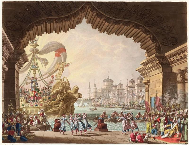 ALESSANDRO SANQUIRICO. Colección de varios escenarios para La Scala de Milán (1827)