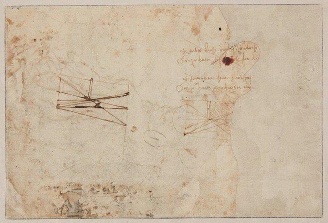 Léonard de VINCI (Vinci 1452 – Cloux 1519 ) Verso: Deux schémas scientifiques, l'un sur les ombres portées d'une bougie et l'autre sur l'effet des rayons lumineux et ombreux derrière un obstacle accompagné de deux annotations spéculaires autographes en distiques Image: Tajan