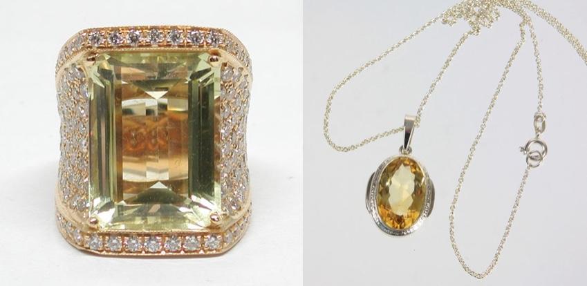 Links: Ring aus Gelbgold mit Citrin und Diamanten Rechts: Kette und Anhänger aus Silber mit facettiertem Citrin